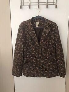 Vintage L.L. Bean Corduroy Jacket Blazer Women's Size 14 Regular EUC Pockets