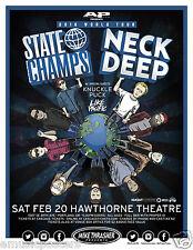 "STATE CHAMPS / NECK DEEP /KNUCKLE PUCK ""2016 WORLD TOUR"" PORTLAND CONCERT POSTER"