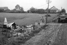 WWII B&W Photo P-47 Thunderbolt Crash D-Day  WW2 /5067