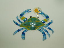 "Metal Blue Maryland Crab With Beer 13"" Nautical Wall Hanging Art Decor Outdoor"