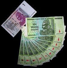 10 X Zimbabwe 10 Trillion Dollar banknotes+ 1 Dollar -paper money currency
