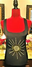 🖤⚜💖Vintage Bohemian Artist SUN As Sequins Jeweled Wild Heart Tank Top Knit 🖤