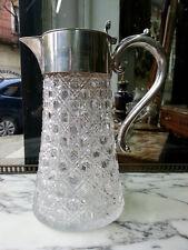 JAMES DIXON SONS 1909 STERLIN SILVER CUT GLASS DECANTER PITCHER JUG