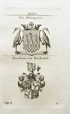 1825 2 Wappen Ribaupierre Riccabona von Reichenfels Kupferstich Tyroff