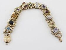 Vintage 10k Yellow Gold Multi Color Diamond Gemstones Cameo Charm Slide Bracelet