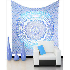 Mandala Tapestry Indian Wall Hanging Decor Blue Ombre Queen Boho Bedspread Throw