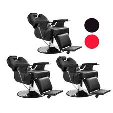 Set of 3 Hydraulic Recline Barber Chairs Salon Beauty Spa Hair Styling Equipment