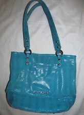 B MAKOWSKY shimmer snake embossed  soft leather turquoise blue shoulder bag