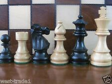 BRAND NEW ♚  FRENCH KNIGHTS EBONIZED  ♞ WEIGHTED WOODEN CHESS PIECES 3.5""