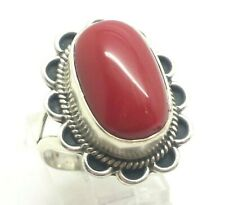 Native Oval Red Coral Sterling Silver 925 Ring 10g Sz.9 DWK541