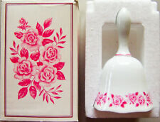 "Vintage 1973 Avon/Mikasa 5.25"" China Dinner Bell Pink Roses + Box - New"