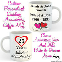 Custom Personalised Bride & Grooms Name Wedding Anniversary Coffee Mug Cup Gift