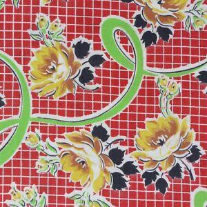 "1 Yard Vintage Fabric 35"" Wide x 36"" Red Black Green"