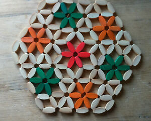 Set of 3 Vintage Wood Flower Bead Trivet Mat Table Protector Placemat Decor