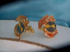 US USMC Military MARINE CORPS Mens SET CUFFLINKS Gift Wedding GOLD