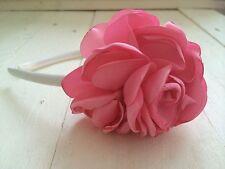 Ivory Satin Alice Hairband Headband  Pink Satin Flower  Bridesmaid Flower Girl