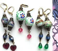 Lot - 3 Pair EARRINGS Crystal Lampwork Vintage Style Artisan OOK Colors Glass #1