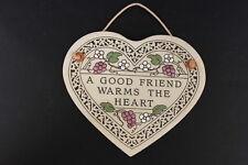 Trinity Pottery Hanging Heart Shaped Wall Tile A GOOD FRIEND WARMS THE HEART USA