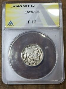 1926 S Buffalo Nickel ANACS F 12 Key Date US Coin Five Cents