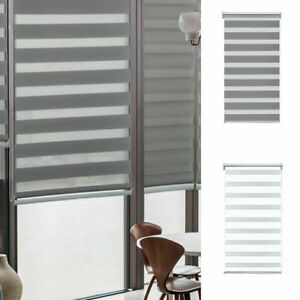 Day and Night Zebra/Vision Window Roller Blinds White / Grey 4 Sizes UK