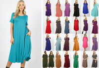 Women's Short Sleeve Midi T-Shirt Dress Soft Jersey Knit Casual Solids Basic