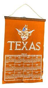 Vintage Texas Longhorns 1968-1969 Collegiate Ames Calendar Banner 100% Wool