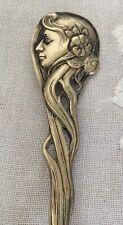 More details for antique art nouveau wmf silver plate punch ladle w woman's head handle