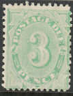 Stamp Australia postage due 3d green filled tablet issue SGD48, MH & scarce