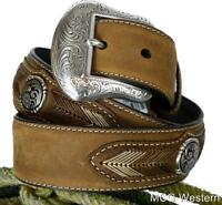 Nocona Mens Diamond Concho Multi-Stitch Belt