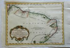 Northern Brazil South America Cear Paraiba Sergipe Pernambuco 1757 Bellin map