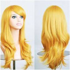 Long Layered Wig Cosplay Full Wigs Cap Pink White Golden Red Black Fancy Dress