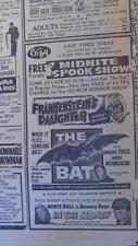 OCT 31, 1959 NEWSPAPER #J5211- FRANKENSTEIN'S DAUGHTER & THE BAT MOVIE ADS