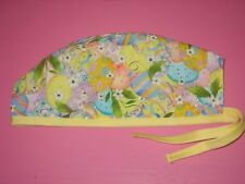 Surgical Scrub Hats caps Easter Colorful painted  Eggs with gold glitter outline