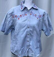 Retro WOMEN'S Bill Blass Size Medium Top Blue w Red Flowers Shirt Blouse Buttons