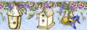 Donna Dewberry Birdhouses & Vines on Blue Border by Brewster 233B33967  5 Yards