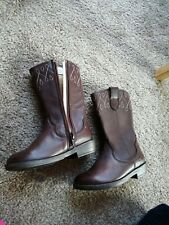 Clarks Girl Brown Leather Boots infant 7 G New