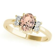 New Ladies 14k Yellow Gold Diamond And Morganite Oval Cut Right Hand Ring