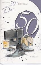 Dad 50th Birthday Card - Age 50 - shoes watch - embossed