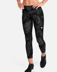 Under Armour Womens Project Rock HeatGear Printed Ankle Crop 1351905 Black NWT