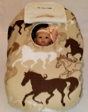 Infant Car Seat Cover Tan Horses Baby n White Fleece Cozy Embroidery, Cowboy Hat