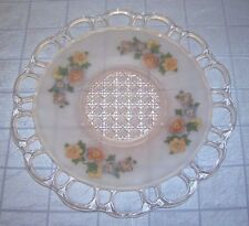 VINTAGE PINK SATIN FROSTED DEPRESSION GLASS PLATE WITH FLOWERS (B9)
