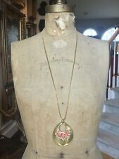 """ALEXIS BITTAR GOLD LUCITE, Coral & Crystal LONG NECKLACE, 32"""" SNAKE CHAIN"""