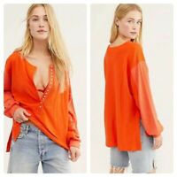 We The Free People Back At It Henley Top Tunic Shirt Oversized Size S ORANGE