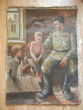 Oil Russian Painting Portrait Soldiers and Children USSR Socialist realism