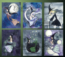 WITCHES 3 MERMAID NOTE CARDS from Original Watercolors by Grimshaw Halloween