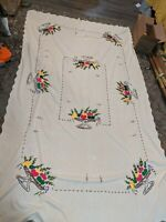 "Vtg Embroidery Cross Stitch Sqare Tablecloth Flowers Basket Needlework 101""x56"""