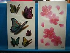 Lotto 2 fogli Tatuaggi Temporanei fiori  6x10 cm tatoo tattoo
