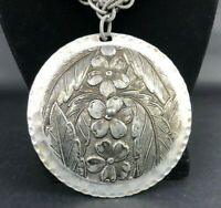Vtg STATEMENT Necklace Chunky Rope Chain Large Hammered Aluminum Flower Pendant