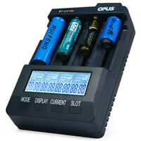 Opus BT - C3100 V2.2 Digital Intelligent 4 Slots LCD Battery Charger US plug New
