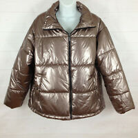 NWT Ava & Viv brown shimmer coated nylon insulated lined full zip puffer jacket